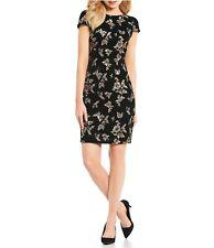 Calvin Klein Womens 1183 Black Sequin Embellished Velvet Dress 14 B B