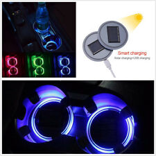 2x RGB LED Vehicles Solar Cup Holder Bottom USB 7-Color Decor Atmosphere Lights