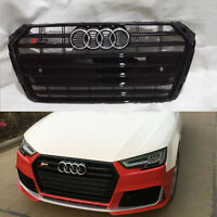 B9 A4 Front Bumper Grille Grill for Audi A4 B9 Saloon 2016+ To S4 Style Black