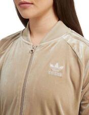 SMALL adidas Women's  VELVET VIBES SUPERSTAR TRACK JACKET UK10-US6  BEIGE LAST1