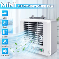 Portable USB Mini Air Conditioner Fan Cooling Humidifier LED Cooler Home Office