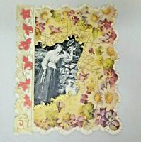 Vintage 1903 Die Cut Floral Embossed Valentine Greeting Card 6037