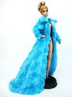 Eaki Blue Fur Coat Dress Outfit Gown Silkstone Barbie Fashion Royalty Monogram