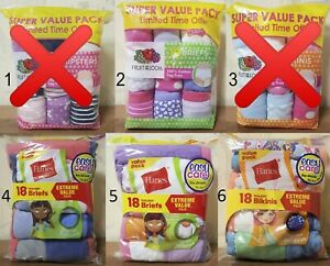 New in Package Underwear Briefs Bikinis Hipsters for Kid's Girl's