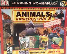 New 3 CD Animals: Amazing Wild & Endangered Learning PowerPack Windows 95/98/XP
