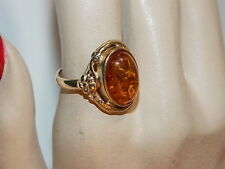 Cab Flowers sz 7 Solitaire Ring 10h 26 Uk Hallmarked 9c Y Gold 375 Golden Amber