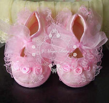 New Baby Infant Girls Newborn Christening Baptism Lace Shoes White Pink Soft