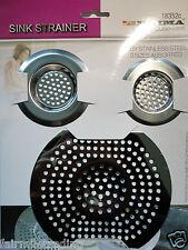 3 Stainless Steel Sink Strainer Set Kitchen Bath Shower Hair Trap Food Filter