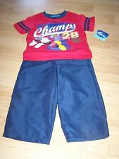 Size 24 Months Disney Outfit Navy Pants & Red Mickey Mouse Football Shirt Top N