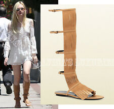 $765 GUCCI SHOES BECKY TALL FRINGE GLADIATOR SANDALS SUEDE LEATHER 37.5 US 7.5