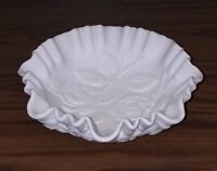 Antique All White Porcelain Bowl With Wavy Edges And Raised Flowers. Embossed.
