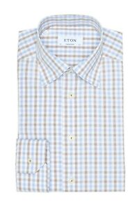 BNWT Eton Contemporary Fit Check Dress Shirt Size 14.5 MSRP $245!!!