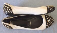 Auth Moschino Ivory Black Leather Gold Studded Flats WMS 8.5 Cap toe Shoes
