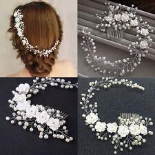 AU Women Crystal Pearl Hair Comb Wedding Bridal Prom Flower Slide Clip Headband