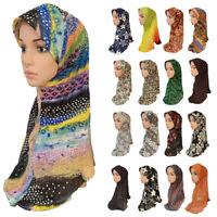 Women Flower Hijab Scarf Headscarf Islamic Shawls Amira Lady Hijab Muslim Cap