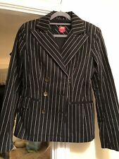 Ladies Miss 60 Size Snall Pin Stripped Black And White Jacket/blazer