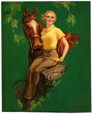 """Thoroughbred by Roy Best 1930s Glamour Girl art deco print 7.75"""" x 9.5"""" Ӝ"""