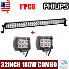 32''inch 180W Philips Led Light Bar Combo Jeep Truck Offroad SUV+2X18W Spot Pods