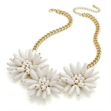 White Flower Necklace Gold Colour Chain Necklace