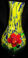 Large Cased MURANO ART Glass Yellow & Blue with applied RED FLOWER & LEAVES VASE