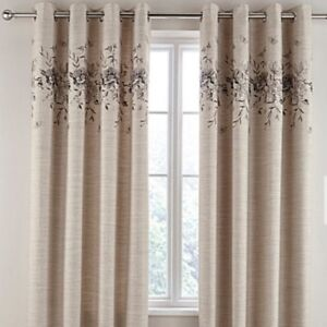 ALBA FLORAL EMBROIDERED  FULLY LINED EYELET  RING TOP  CURTAINS (IN 2 COLOURS)