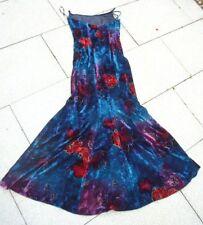 Designer Abendkleid, Renzo, Samt, mit Corsage, blau-rot, Fishtail