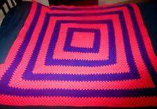 VTG Crochet Afghan 57 x 57 Boho Handmade Hot Pink Purple Knit Block Square