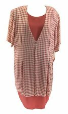 SL Fashions Women's Plus Size 24W Dress Gingham Plaid Faux Layer Shift Pink NWT