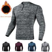 Men's Compression Long Sleeve 1/4-Zip Shirt Fleece Mock Neck Workout Gym Tops