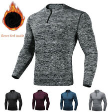 Men's Compression Long Sleeve 1/4-Zip Shirt Fleece Mock Neck Workout Gym Tops