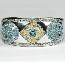Sterling Silver 16.40 Ct Genuine Blue Topaz Womens Cuff Bangle Bracelet 7 Inch