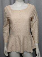 Ann Taylor Loft Womens Size Medium Lace Lined ¾ Sleeve Tan Pink Shirt Top