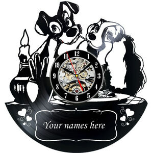 Personalised Lady and The Tramp Vinyl Wall Clock Decor Gift Sign Art Modern