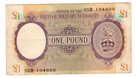 Vintage Banknote VF Great Britain Military Authority WWII 1943 1 Pound Pick M6a