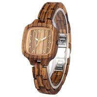 Modern Women Watch Lady's Casual Wooden Quartz Watches Bamboo Bracelet Strap
