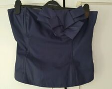 Topshop Navy Blue Size 14 Fits uk 12 Boned Basque Bow Strapless Top !!