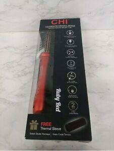 """CHI Tourmaline Ceramic Series 1.25"""" Heated Round Brush Ruby Red 410°F LCD"""
