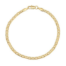 """3.5mm 14K Gold Plated 925 Sterling Silver Mariner Link Chain Bracelet Italy 8"""""""
