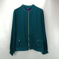 Susan Graver Solid /Print Stretch Peachskin Bomber Jacket Dk Ivy Green M A294746