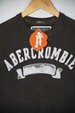 Vintage Homme Abercrombie T shirt Délavé Gris Shabby Casual Muscle Fit P43 Petit