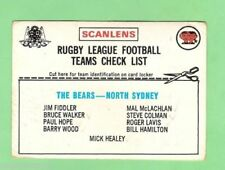 Checklist North Sydney Bears NRL & Rugby League Trading Cards