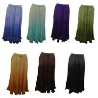 PLUS SIZE BOHO HIPPIE OMBRE EMBROIDERED  SCALLOPED HEM GYPSY SKIRT SIZE 12-22