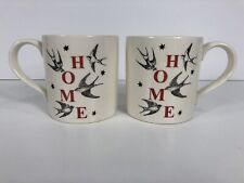 "Royal Stafford ""HOME"" Sparrow Tattoo Old School Coffee Mugs Cups England Pair"