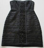 BCBG MAXARIZA Women's Strapless Cocktail Dress Sz 0 Black Beige Lace Stripes