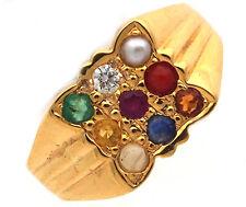 18k Yellow Gold Designer Diamond Mens Navratna Stones Ring G VS 1.04 CT SZ 7.75