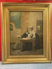"""huile sur toile """"scène d'intérieur"""", vers 1907"""