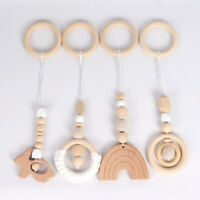 Rainbow Beech Pendant Crochet Wooden Ring Beads Baby Activity Play Gym Toy Set