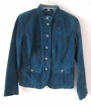 Macy's Charter Club Women's Size Petite Dark Teal Suede Leather Jacket