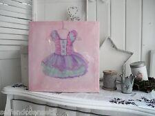 30cm KLeid Ballerina Tütü violett Canvas Wandbild Bild Romantik shabby chic 890