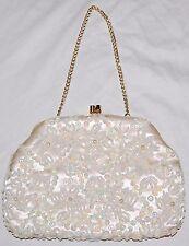 Vintage Stephanie Purse Handbag Bag White Beaded Sequin Hong Kong Hand Made 50's